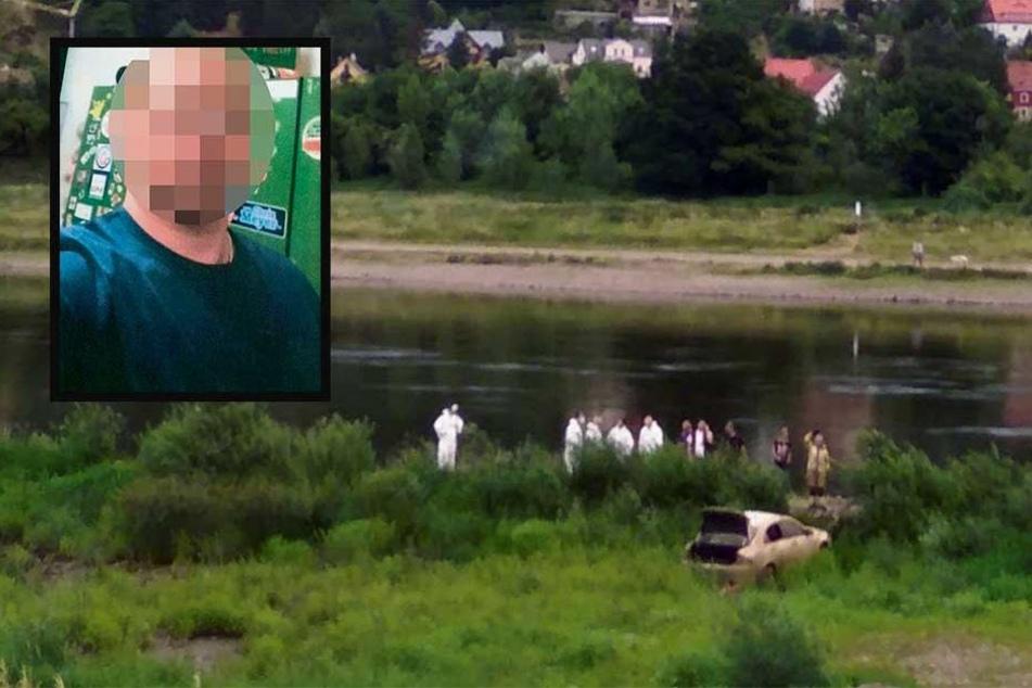 Alexander T. (†30) aus Blasewitz wurde seit Monaten vermisst. Kameraden der Feuerwehr bargen den weißen Honda Accord mit der Leiche Freitagabend aus der Elbe.