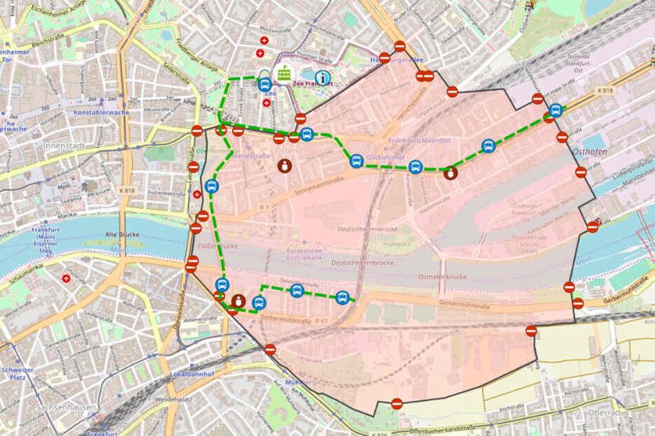 Der Screenshot zeigt eine Grafik der Feuerwehr Frankfurt. Die Evakuierungszone ist rot markiert.