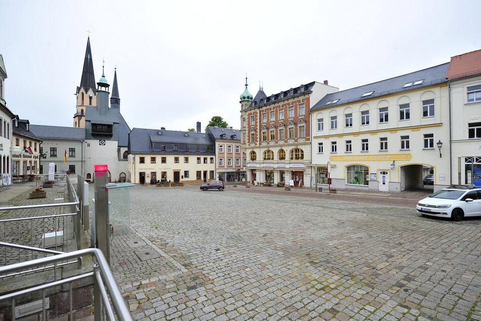 """Marktplatz Burgstädt: Hier hält die AfD am 26.Juni eine Kundgebung zum Thema """"Grundrechte"""" ab."""