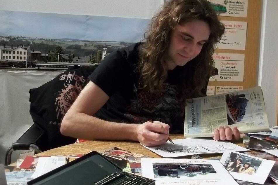 Thomas Bartels zeichnet bei Tageslicht. Neben Eisenbahnen malte er Porträts für Selena Gomez und Sängerin Taylor Swift.