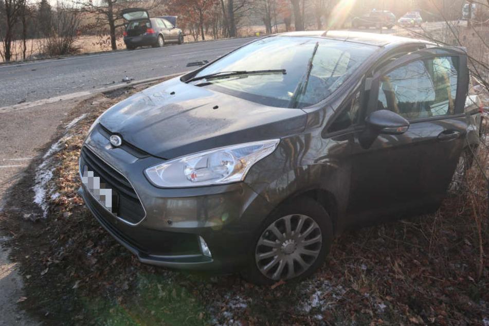 Der Ford schleuderte in den Straßengraben.