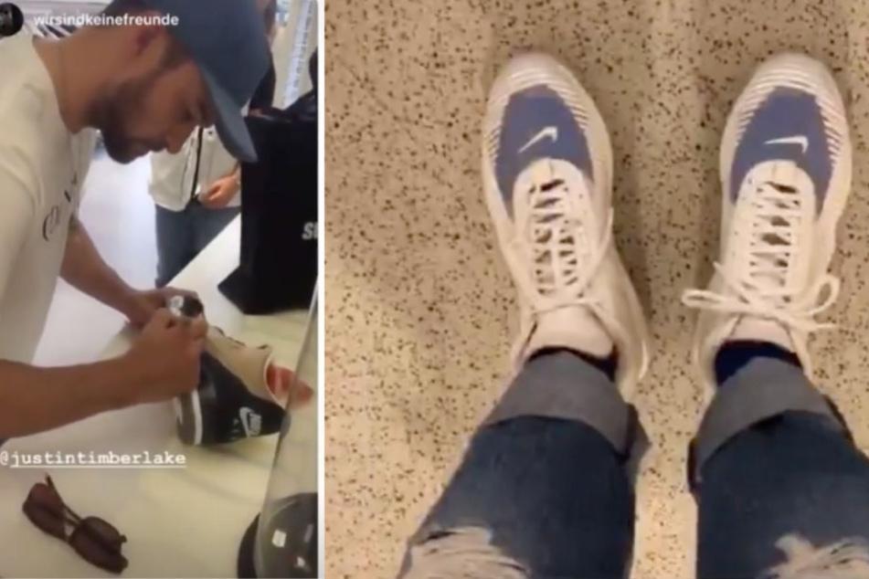 Timberlake signierte im Berliner Sneaker-Store neue Nike-Schuhe. In seiner Instagram-Story hatte er ein paar scheinbar neue an.