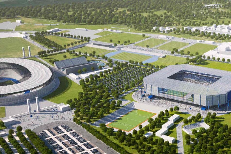 Hier ist der ursprüngliche Plan der Hertha zu sehen: ein neues Stadion, direkt neben dem aktuell genutzten. Doch dafür gibt es keine Mehrheiten.
