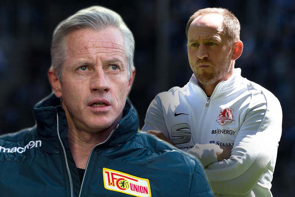 Ein Duell auf Augenhöhe: Jens Keller (l) und Eintracht-Trainer Torsten Lieberknecht.