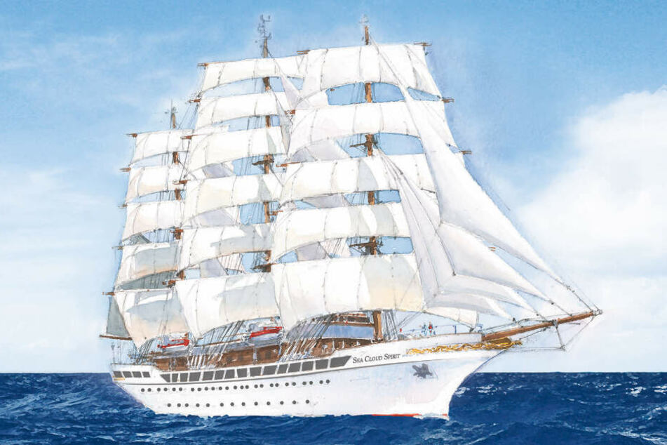 """So soll die """"Sea Cloud Spirit"""" ab 2020 über die Meere segeln. (Zeichnung)"""