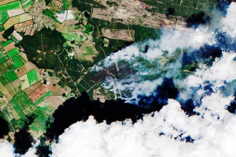 Der europäische Copernicus Sentinel-2-Satelliten hat den Waldbrand bei Lübtheen (Mitte) am Montagmittag aus dem Weltraum aus fotografiert.