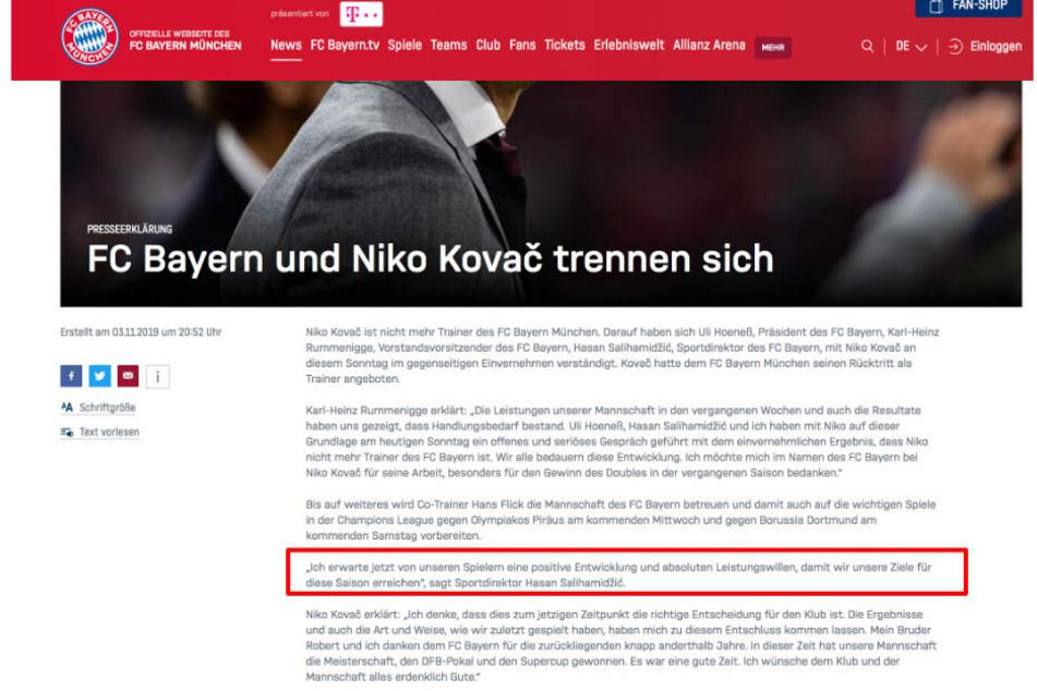 In der Mitteilung des FC Bayern steht ein Zitat, das manchen bekannt vorkommen könnte.