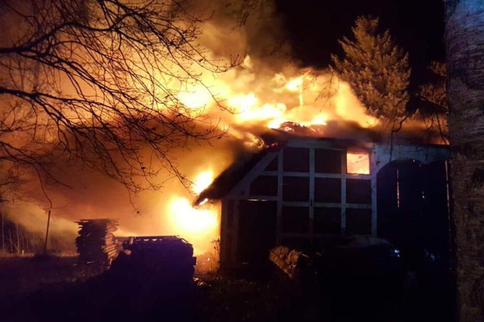 Reetdachhaus brennt lichterloh: Feuerwehr hat keine Chance