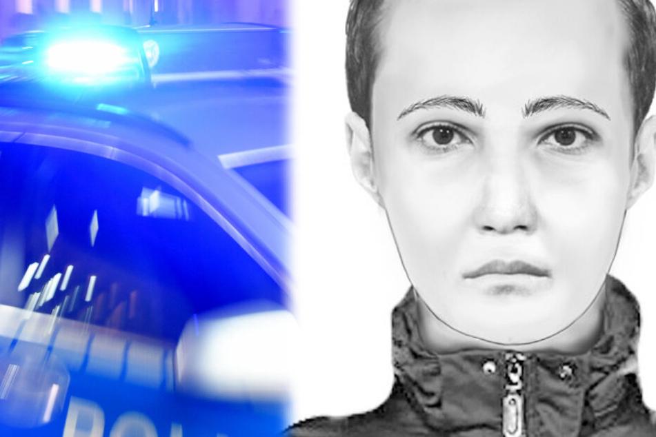 Die Montage zeigt rechts ein Phantombild des gesuchten Sextäters.