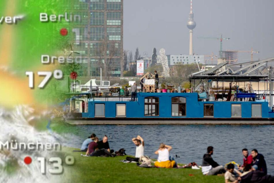 Berliner genießen das schöne Wetter im Treptower Park.