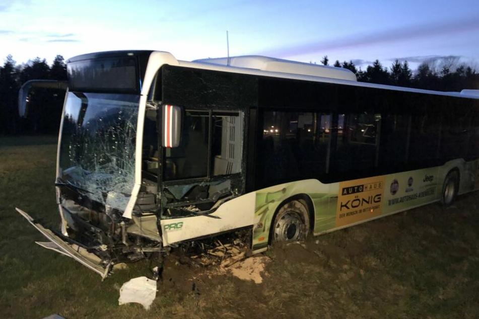 Der Linienbus wurde leicht beschädigt und landete auf einer angrenzenden Wiese.