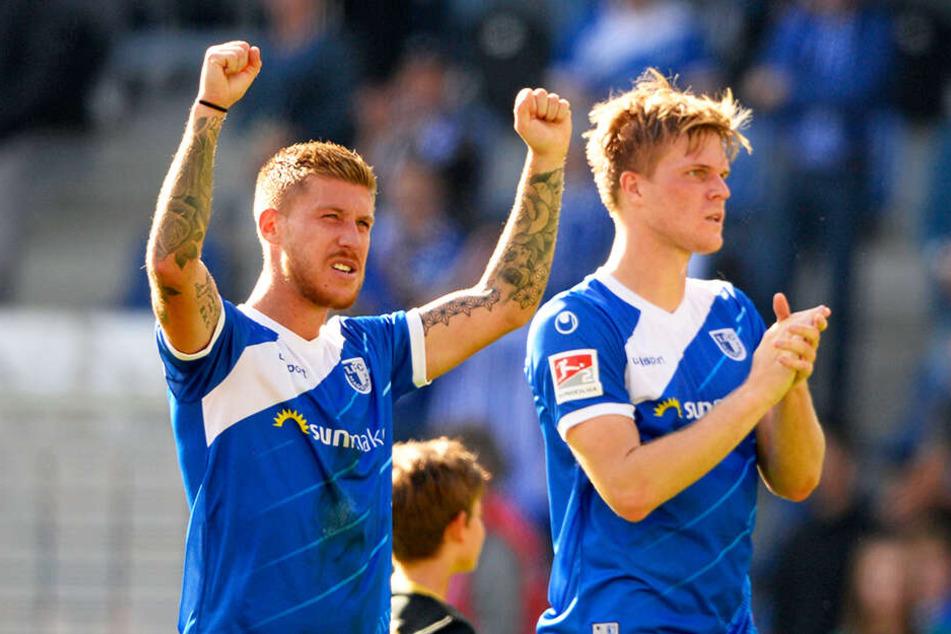 Philip Türpitz (l.) ist einer von 17 bereits feststehenden Abgängen des 1. FC Magdeburg. Marius Bülter wird von den Erstliga-Aufsteigern 1. FC Union Berlin und SC Paderborn 07 gejagt, steht beim FCM aber noch unter Vertrag.