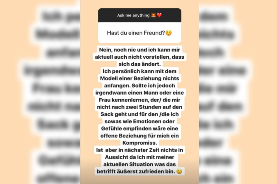 Das Bild zeigt den Screenshot einer Instagram-Story von Fitness-Influencerin LeaLovesLifting.
