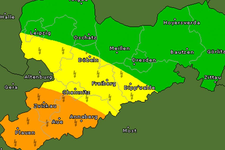 Für Teile des Vogtlands und des Erzgebirges gilt wieder die Unwetterwarnstufe 2.