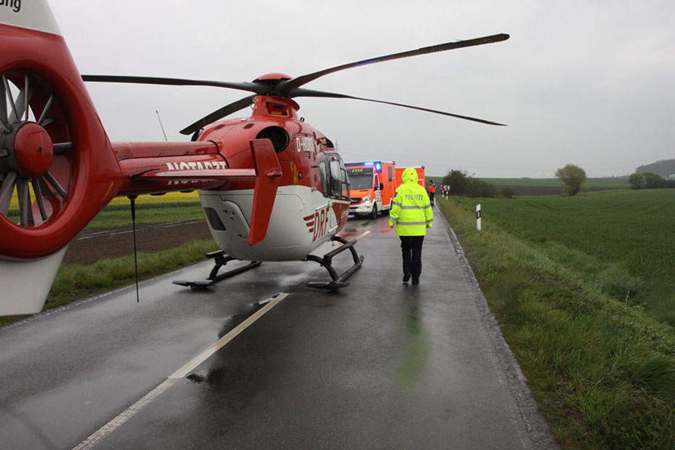 Der Rettungshubschrauber brachte eine schwer verletzte Frau ins Krankenhaus.