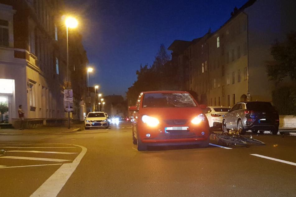 In Leipzig ist es erneut zu einem Unfall zwischen einem Auto und einem Radfahrer gekommen.