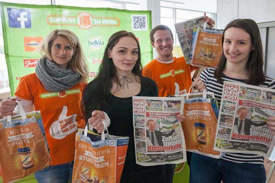 1500 Campus-Tüten für Zwickaus Studenten: Die Chemnitzer MOPO und Tag24.de  überraschten am Dienstag die angehenden Akademiker.