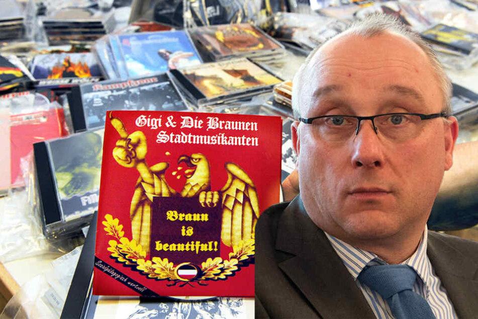 CDs mit volksverhetzender Musik – AfD-Mann Jens Maier hinterfragt den entsprechenden Paragrafen 130. (Bildmontage)