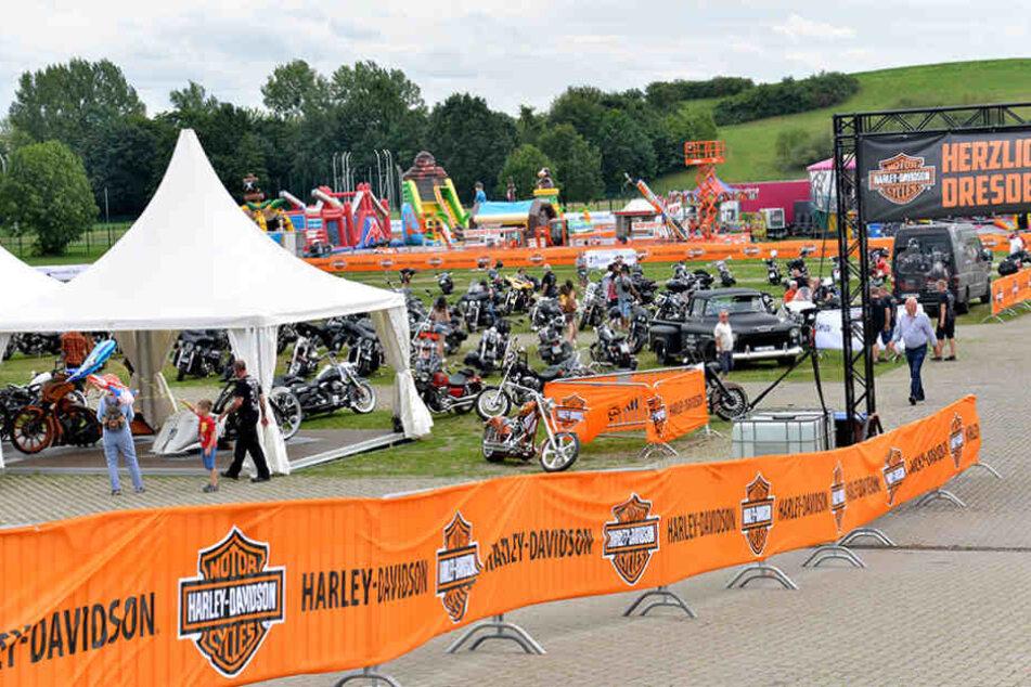 Die ersten Harley-Fans waren schon gestern Mittag in der Flutrinne.