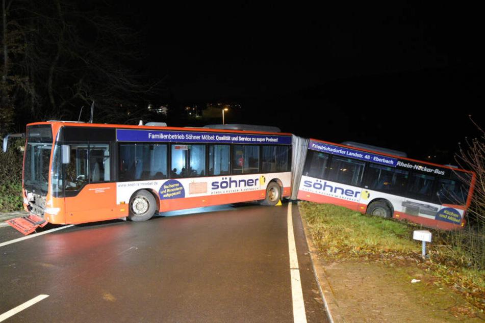 Mit dem hinteren Teil landete der Bus ungebremst in einer Böschung.