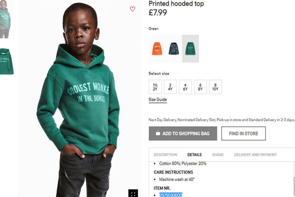 Mit dieser Anzeige im Online-Shop sorgte H&M für einen gewaltigen Rassismus-Shitstorm.