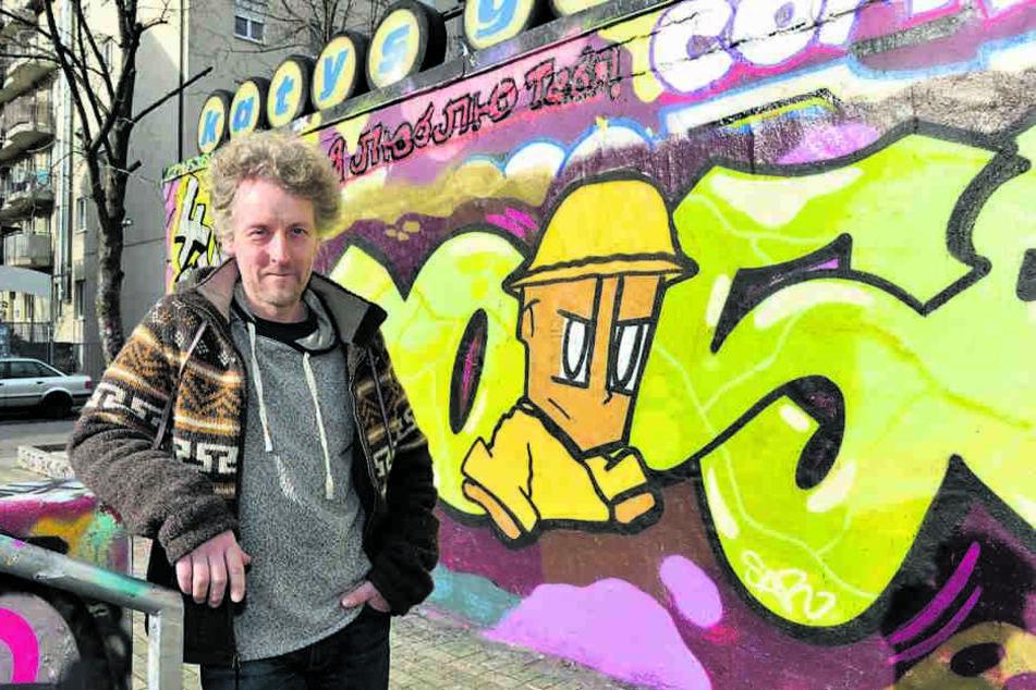 """Dresden ist bunt - und bald noch bunter: Rathaus-Politiker Torsten Schulze (49, Grüne) kämpft für """"UrbanArt"""" aus der Spraydose."""