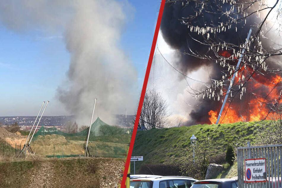Großbrand in Dresden! Recyclingbetrieb steht in Flammen