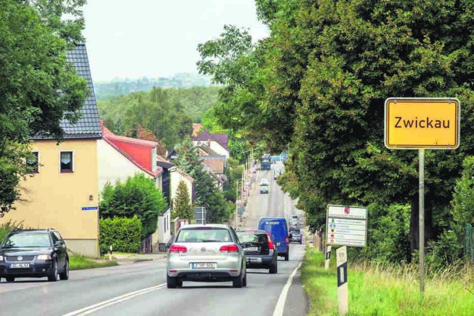 Noch steht dieses Zwickauer  Ortseingangsschild allein in der Landschaft. Nächstes Jahr kommt eine  Willkommensstele dazu.