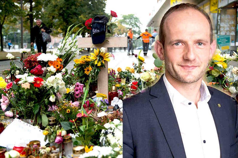 Nach der Tötung eines Mannes in Chemnitz wurden Blumen und Kerzen am Tatort niedergelegt. CDU-Fraktions-Vize Stephan Meyer (37) will in deutschen Innenstädten ein Messerverbot.