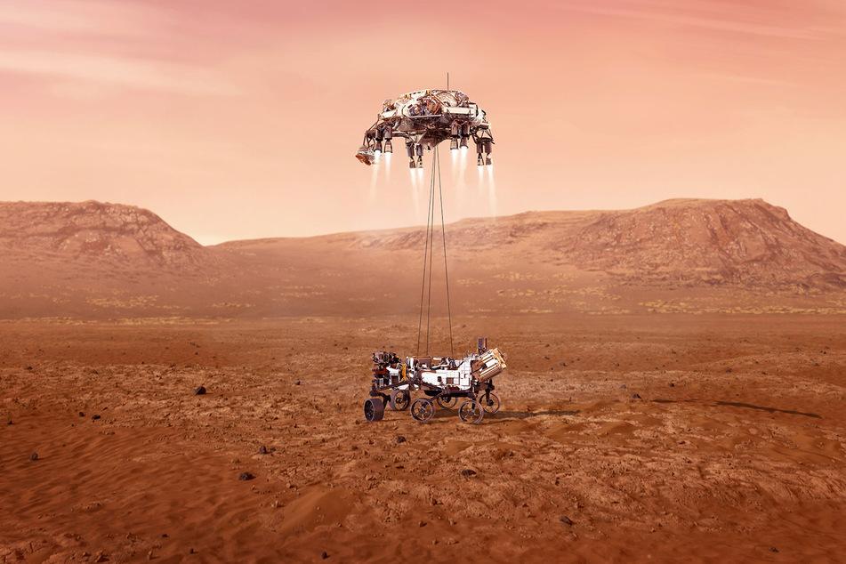 """So könnte die Landung des Rovers """"Perseverance"""" auf dem Mars aussehen."""