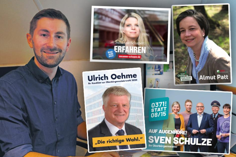 Wer wird Chef von Chemnitz? Experte analysiert OB-Wahlplakate