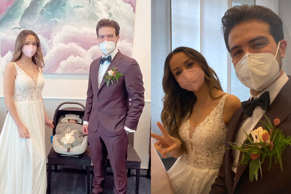 Mit Maske zeigen sich Samira (23) und Yasin (29) beim Standesamt.