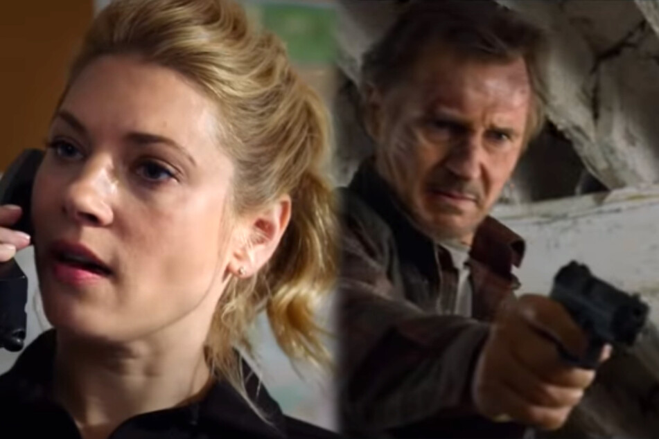 Not quite done yet: Liam Neeson (68, r.) stars alongside Katheryn Winnick (43) in the action thriller The Marksman, released on January 15 (collage).
