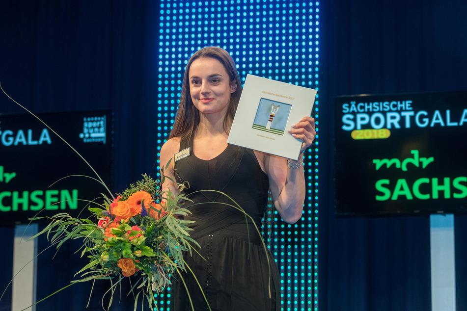 Auch auf der Showbühne schlägt sich Pauline Schäfer perfekt - hier mit der sächsischen Sportlerkrone im Januar 2018.