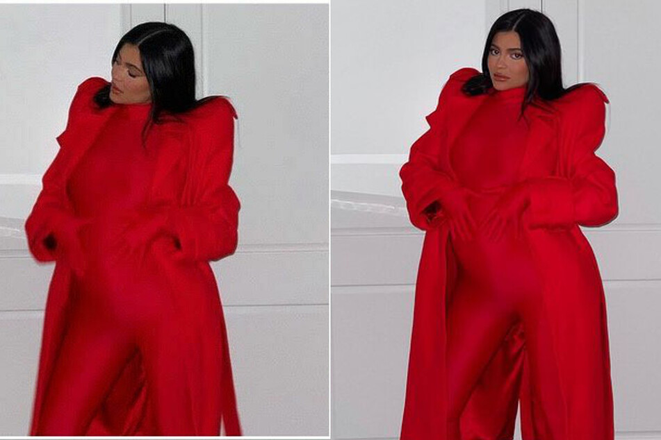 Red-hot mama! Kylie Jenner sports spicy catsuit and growing baby bump
