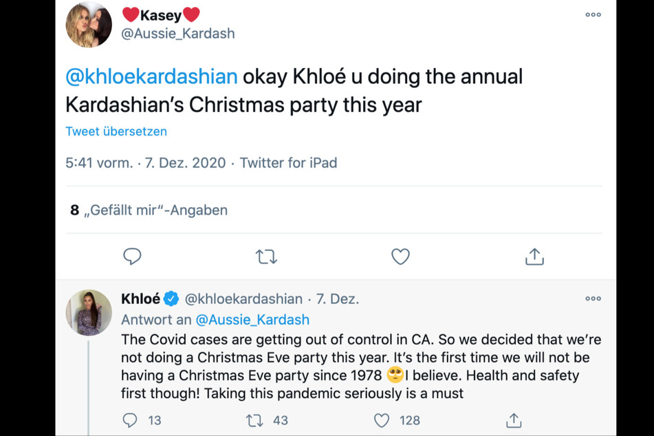 Khloé Kardashian told the sad news to a fan on Twitter.