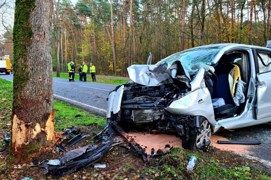 Berlin: Horror-Unfall: Frau kracht mit Auto gegen Baum, Angehöriger muss alles mit ansehen