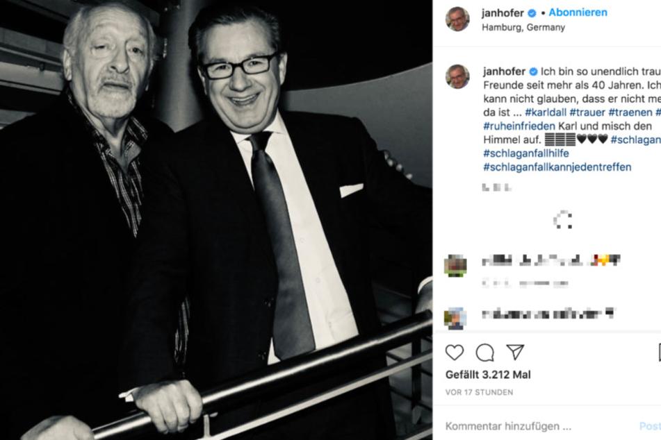 Auf Instagram trauert Jan Hofer (68) um seinen langjährigen Freund.