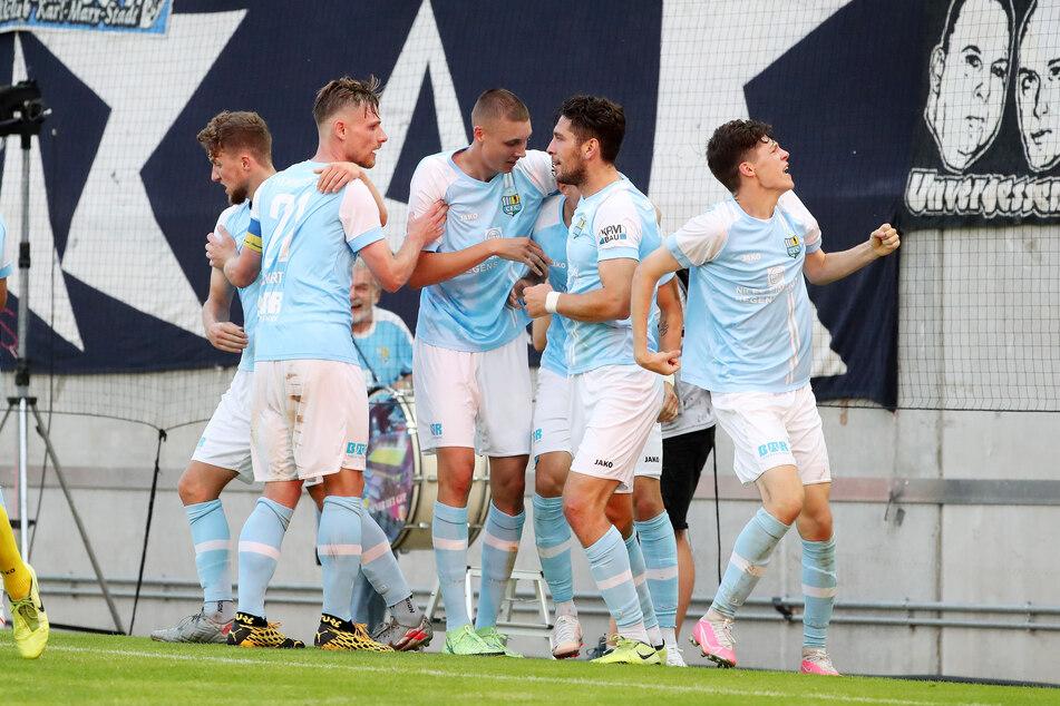 Nach vierwöchiger Pause konnten die Spieler des Chemnitzer FC endlich wieder jubeln. Am Ende reichte es jedoch nur für einen Punkt(Archivbild)