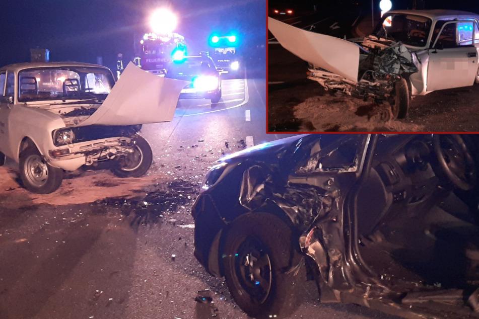 Schwerer Unfall bei Bautzen: Moskwitsch kracht in Kia, Frau in Auto eingeklemmt!