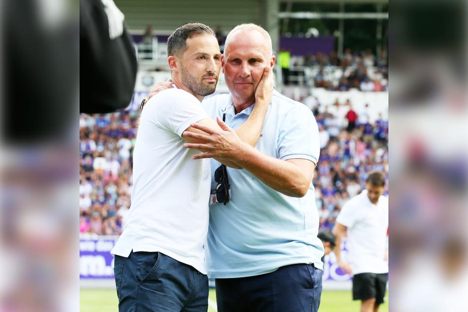 Im Frühjahr 2017 holte Helge Leonhardt (62, r.) den jungen Domenico Tedesco (35) nach Aue - ein echter Glücksgriff. Tedesco kehrte im Juli 2018 mit Schalke zu Test/Ablösespiel zurück.
