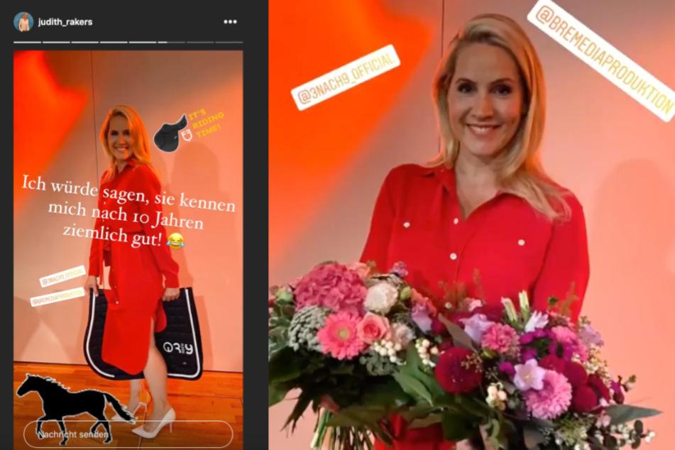 Das Team schenkte der Moderatorin Blumen und eine Satteldecke.