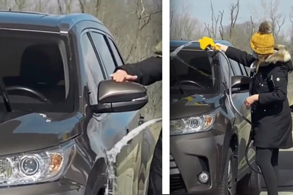 That's not water! Woman stuns onlookers with dangerous carwash