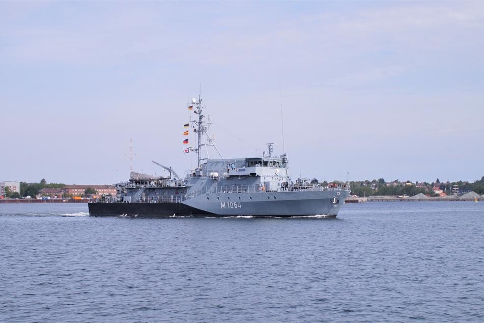 """Das Minenjagdboot """"Grömitz"""" läuft am Samstag zum nächsten Einsatz aus."""