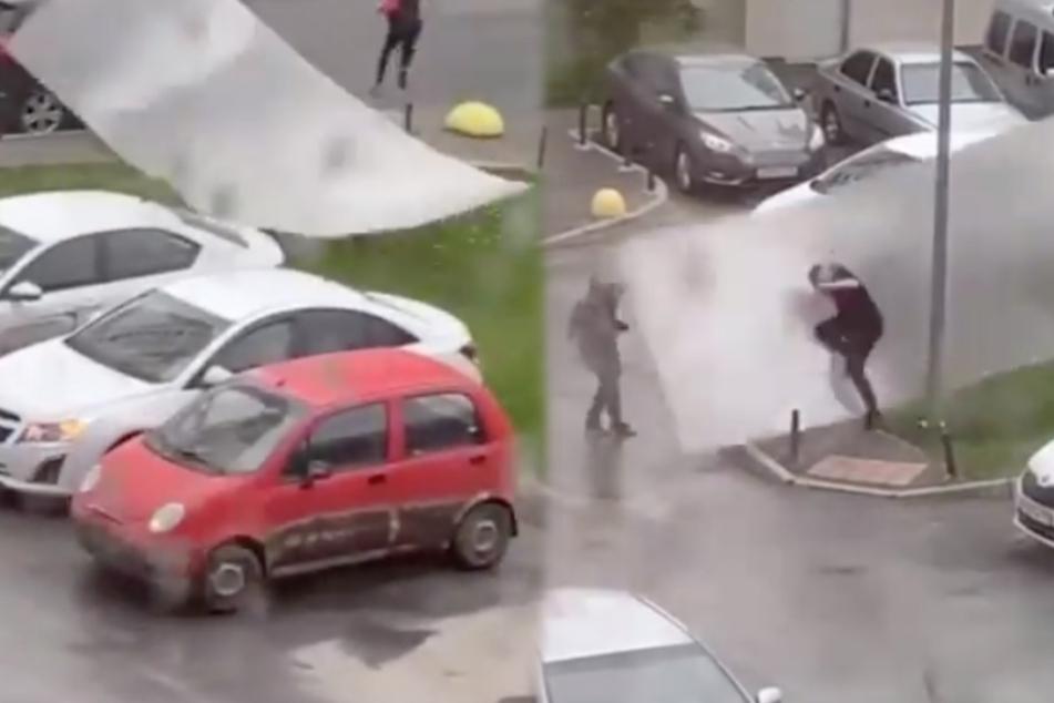 Heftiger Wirbelsturm wütet in Stadt: Ein Mann bekommt das besonders zu spüren