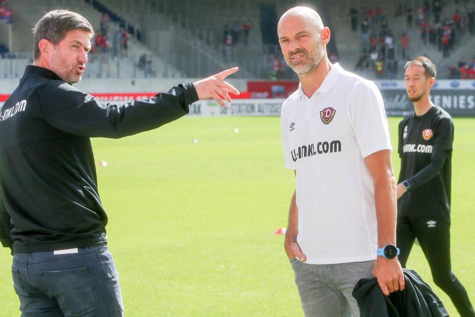 Vor dem Spiel waren Dynamos Sportgeschäftsführer Ralf Becker (l.) und Trainer Alexander Schmidt noch guter Dinge.