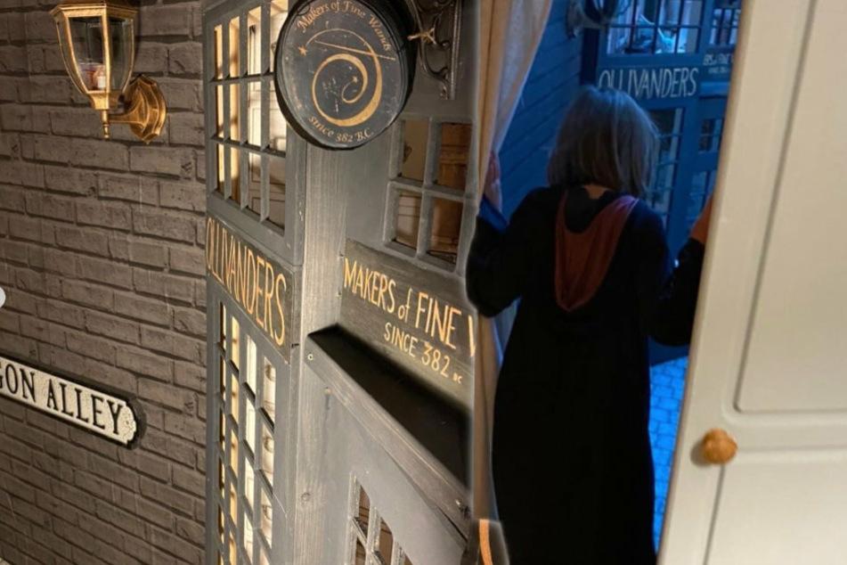 """Für seine Tochter! Vater baut Winkelgasse aus """"Harry Potter"""" in sein Haus"""