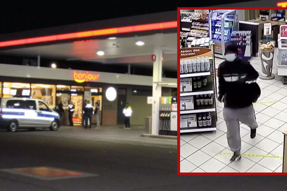 Bewaffneter Räuber überfällt Tankstelle: Polizei fahndet nach diesem Mann