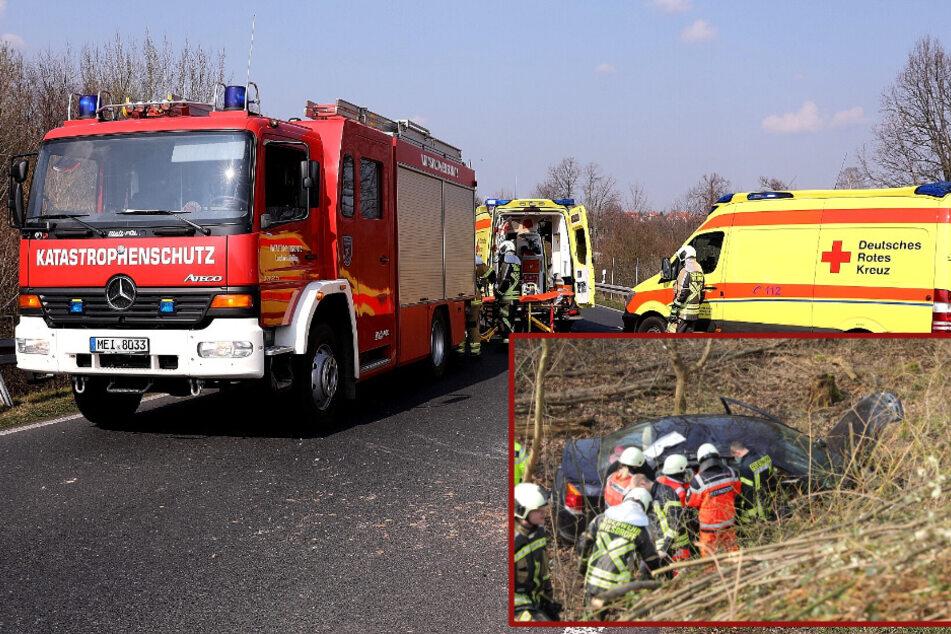 Unfall an der A4-Abfahrt Wilsdruff: Opel fliegt Böschung hinunter!