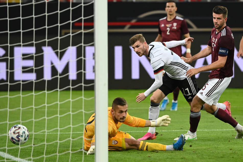 Der ehemalige Leipzig-Stürmer erzielte gegen die Letten das 6:0.